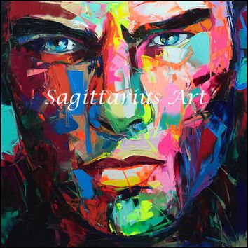 Francoise Nielly Designers Hand Painted Untitled 519 Cool Face Palette knife Abstract Oil Painting Canvas Home Fine Art artwork