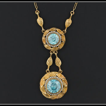 Antique Victorian 14k Gold Blue Zircon & Pearl Necklace