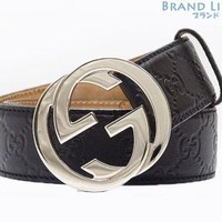 Auth GUCCI Guccissima Interlocking G Buckle belt 114984