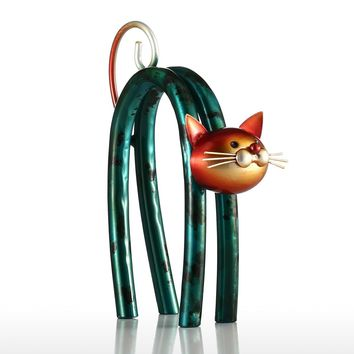 Cat Figurines Iron Figurine Metal Design Spring Little Cat Modern tyle Art Home Decoration Craft Gift For Home