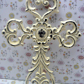 Cross Wall Decor Off White Cream Distressed Swirl Ornate Medallion Style Shabby Chic French Paris FDL Ornate Decoration Cast Iron