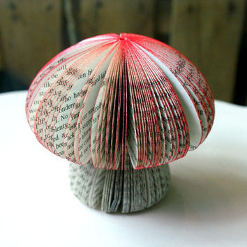 3D paper sculpture mushrooms handmade from recycled English novels.