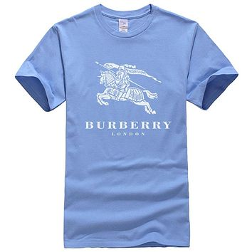 Burberry New fashion letter war horse print couple top t-shirt Blue