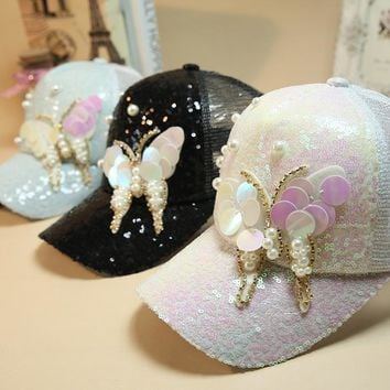 Luxury Women Baseball Cap Brand Bling butterfly Pearl Sequins Hip Hop Cap Vintage Snap Back Design Cap Casual Snapback Hat New