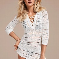Hooded Crochet Cover-up Sweater