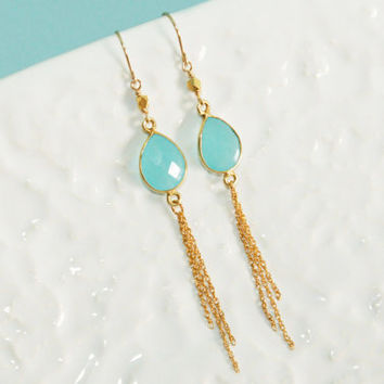 Aqua Chalcedony Vermeil Drop and Thai Karen Hill Tribes Vermeil Faceted Beads Gold Fill Earrings Kaya Jewelry