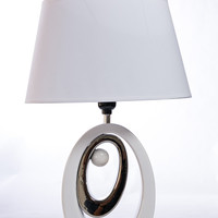 "Motif Table Lamp - White/Silver Circles 19""H"