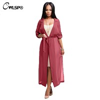 CWLSP  Red Trench Coat Womens Spring Summer Chiffon Trench Cardigan 2017 Female Notch Neck Casual Coat long duster coat QZ1793