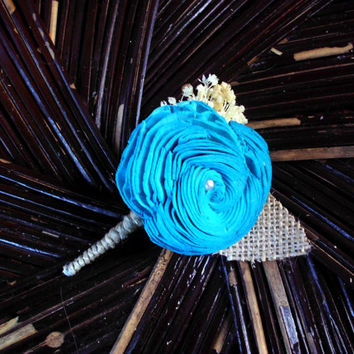 Turquoise sola boutonniere, rustic boutonniere, rustic wedding, turquoise button hole, sola button hole,beach wedding,wedding boutonniere