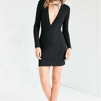 Motel Lynette Plunging Ribbed Mini Dress - Urban Outfitters