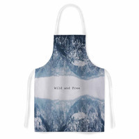 """Suzanne Carter """"Wild and Free"""" Blue Gray Digital Artistic Apron"""