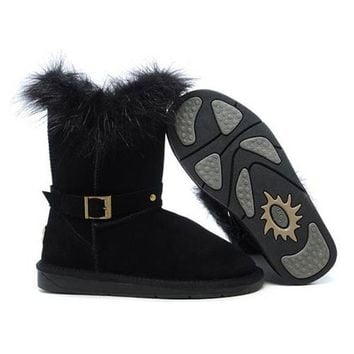 Cyber Monday Uggs Boots Fox Fur Buckled 5558 Black For Women 94 09