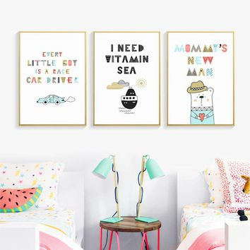 Cute Cartoon With Sweet Inspirational Phrase Canvas Painting Posters And Prints Pictures Wall Art Children's Bedroom Home Decor