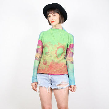 Vintage 90s Shirt Long Sleeve Sheer Mesh SUNFLOWER Print Club Kid Shirt Netting Sunflowers Neon 1990s Kawaii Rave Top T Shirt S Medium M L