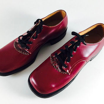 Vintage Shapiro's Children's Shoes Burgundy Lace Up Oxford Never Worn New Old Stock NOS Small Women's Shoe 50s Style Mad Men Era