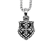 Gothic Stainless Steel Shield Pendant Necklace with Chain
