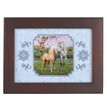 Quarter Horse Mare and Foal Blue Keepsake Boxes