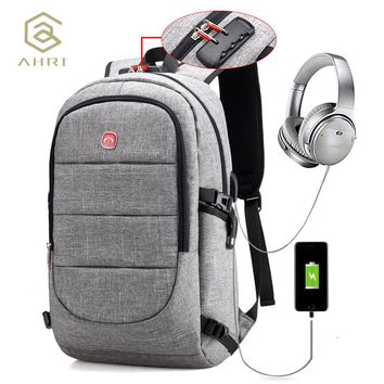 Oxford Backpack Large Capacity Laptop Backpacks Shoulder Bag with Security Coded Lock USB Cable and Charging Port Male