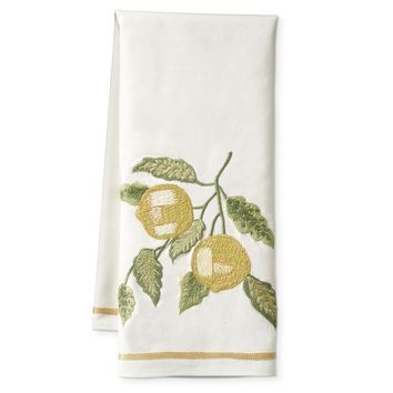 Crewel Embroidered Towel, Lemon