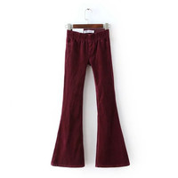 Corduroy Elastic Waist Pocket Stretch Brand Flare Trousers