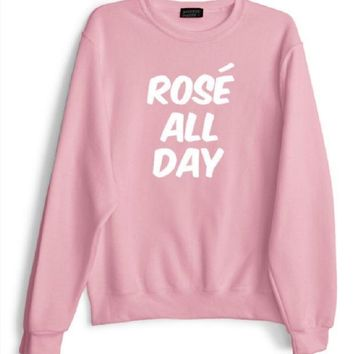 ESBIH3 Women [rose all day] letter sweater
