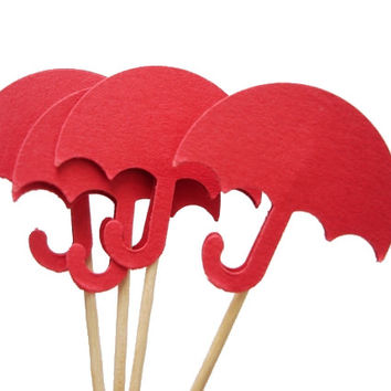24 Red Umbrella Party Picks, Cupcake Toppers, Food Picks, Toothpicks, Drink Picks - No772