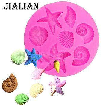 Shells starfish conch chocolate Party cake decorating tools DIY sea star silicone molds Sugar Chocolate Decor candy T0240