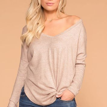 Cassie Oatmeal V-Neck Top