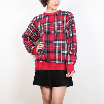 Vintage 90s Sweater Red Blue Green Tartan Plaid Sweater Soft Grunge Chunky Knit 1990s Sweater Preppy Hipster Pullover Jumper M L Large XL