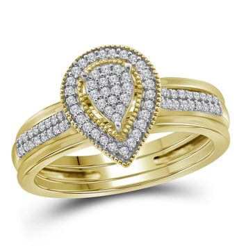 10kt Yellow Gold Womens Diamond Teardrop Cluster Bridal Wedding Engagement Ring Band Set 1/5 Cttw