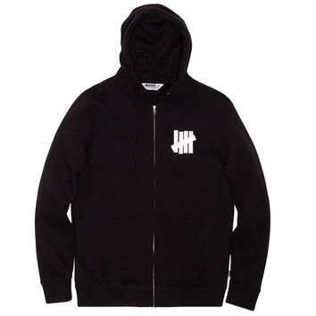 Undefeated: 5 Strike Zip Hoodie - Black
