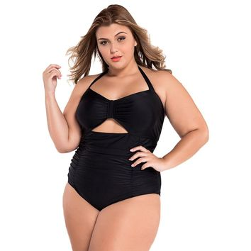 Black Sweetheart Neck Ruched Vintage One Piece