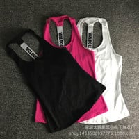 Women Gym Sports Sleeveless Shirts Tank Tops Vest Fitness Running Clothes Loose Quick Dry Tank Tops Singlets