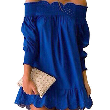 Blue Off Shoulder Lace Trim Flounce Mini Dress