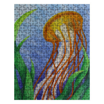 Pacific Sea Nettle Jellyfish - 252 Piece Puzzle of Watercolor Pencil Aquatic Fine Art