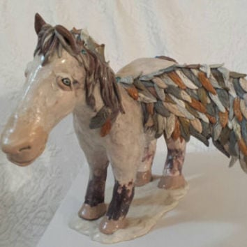 Horse Pegasus Winged Horse Fantasy Art Doll Sculpture Likeness Of Lost Pet One Of A Kind Gift Hand Sculpted Polymer Clay Mixed Media Horse