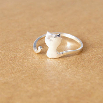 925 Sterling Silver Ring—— Tiny Cute Cat Ring With Gift Box,Lovely Cat  Adjustable Ring