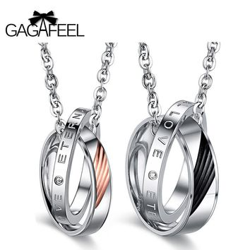 GAGAFEEL Charms Necklace Pendants Men Jewelry Choker Circle Stainless Steel Love Couple For Lover Valentine Gifts