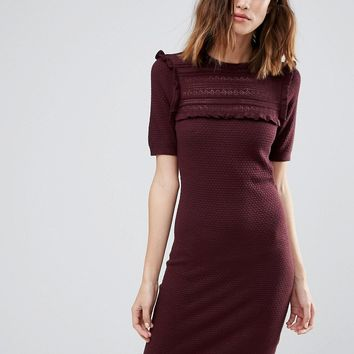 Warehouse Textured Frill Yoke Dress