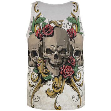 Skulls and Roses Metal Tattoo All Over Adult Tank Top