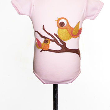 Autumn Birds on Soft Pink Applique Tee or Onesuit
