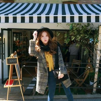 ONETOW 2015 new winter coat in the long section of a Korean Korean button loose Plaid Wool Coat women's female = 1930290308