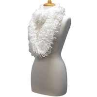 White Wispy Looped Knit Infinity Circle Ring Scarf
