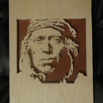 Wooden Native American Man Portrain