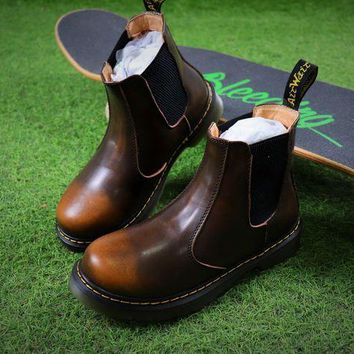 NOV9O2 Newest Dr. Martens Brown Chelsea Boots 2976 Cashmere Inner