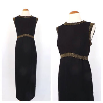 PLUS SIZE Vintage 1960s Cleopatra Mod Maxi Dress Black Gold Lamé Dress Sleeveless Wiggle Dress Size Large Retro Groovy Ethnic Formal Gown