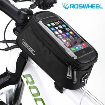 "ROSWHEEL 4.8"" 5.7""Cycling Bike Bicycle bags panniers Frame Front Tube Bag For Cell Phone MTB Bike Touch Screen Bag"