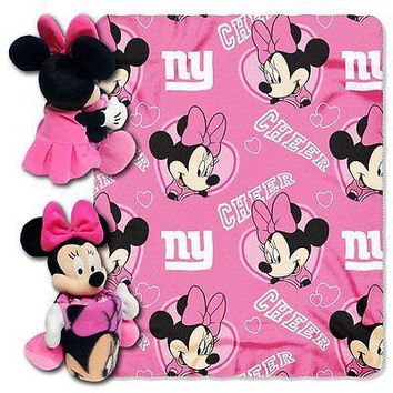 Minnie Mouse Cheerleader New York Giants NFL Throw and Hugger Pillow Set