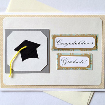 Congratulations Graduate Handmade Graduation Greeting Card - Blue Floral or Customize with School Colors (Blank Inside)
