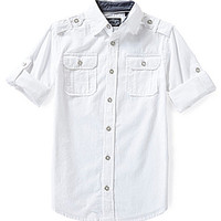 First Wave 8-20 Button Front Shirt - White